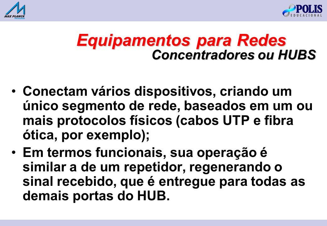 Conectam vários dispositivos, criando um único segmento de rede, baseados em um ou mais protocolos físicos (cabos UTP e fibra ótica, por exemplo); Em termos funcionais, sua operação é similar a de um repetidor, regenerando o sinal recebido, que é entregue para todas as demais portas do HUB.