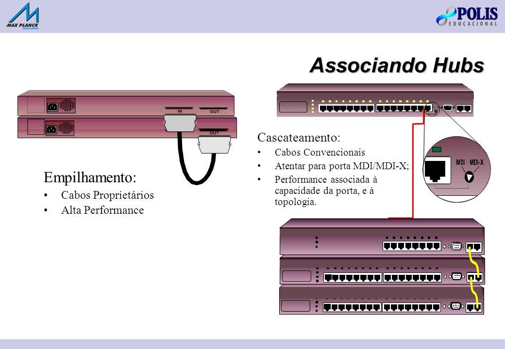 Associando Hubs Empilhamento: Cabos Proprietários Alta Performance Cascateamento: Cabos Convencionais Atentar para porta MDI/MDI-X; Performance associada à capacidade da porta, e à topologia.
