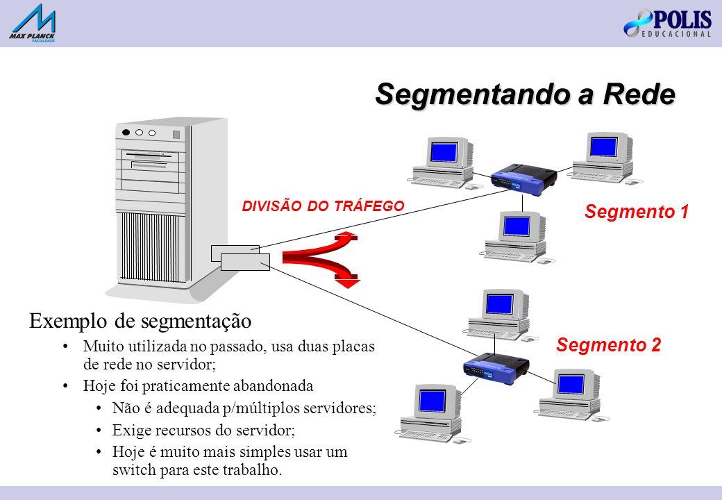 Segmentando a Rede Segmento 1 Segmento 2 DIVISÃO DO TRÁFEGO Exemplo de segmentação Muito utilizada no passado, usa duas placas de rede no servidor; Hoje foi praticamente abandonada Não é adequada p/múltiplos servidores; Exige recursos do servidor; Hoje é muito mais simples usar um switch para este trabalho.