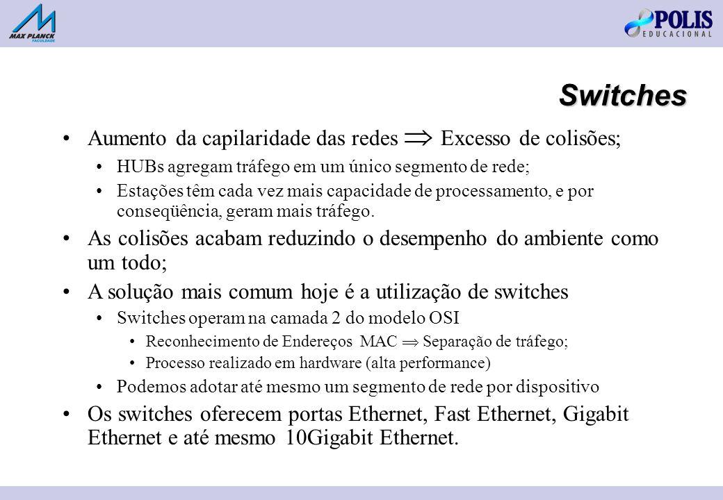 Switches Aumento da capilaridade das redes Excesso de colisões; HUBs agregam tráfego em um único segmento de rede; Estações têm cada vez mais capacidade de processamento, e por conseqüência, geram mais tráfego.