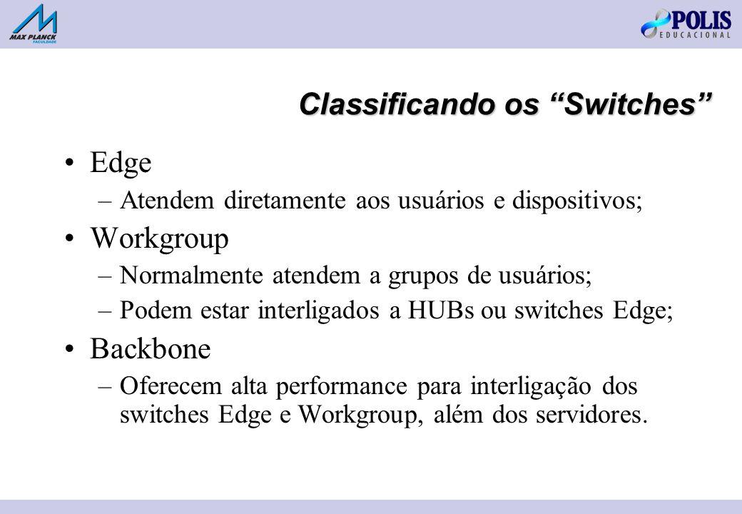 Classificando os Switches Edge –Atendem diretamente aos usuários e dispositivos; Workgroup –Normalmente atendem a grupos de usuários; –Podem estar interligados a HUBs ou switches Edge; Backbone –Oferecem alta performance para interligação dos switches Edge e Workgroup, além dos servidores.