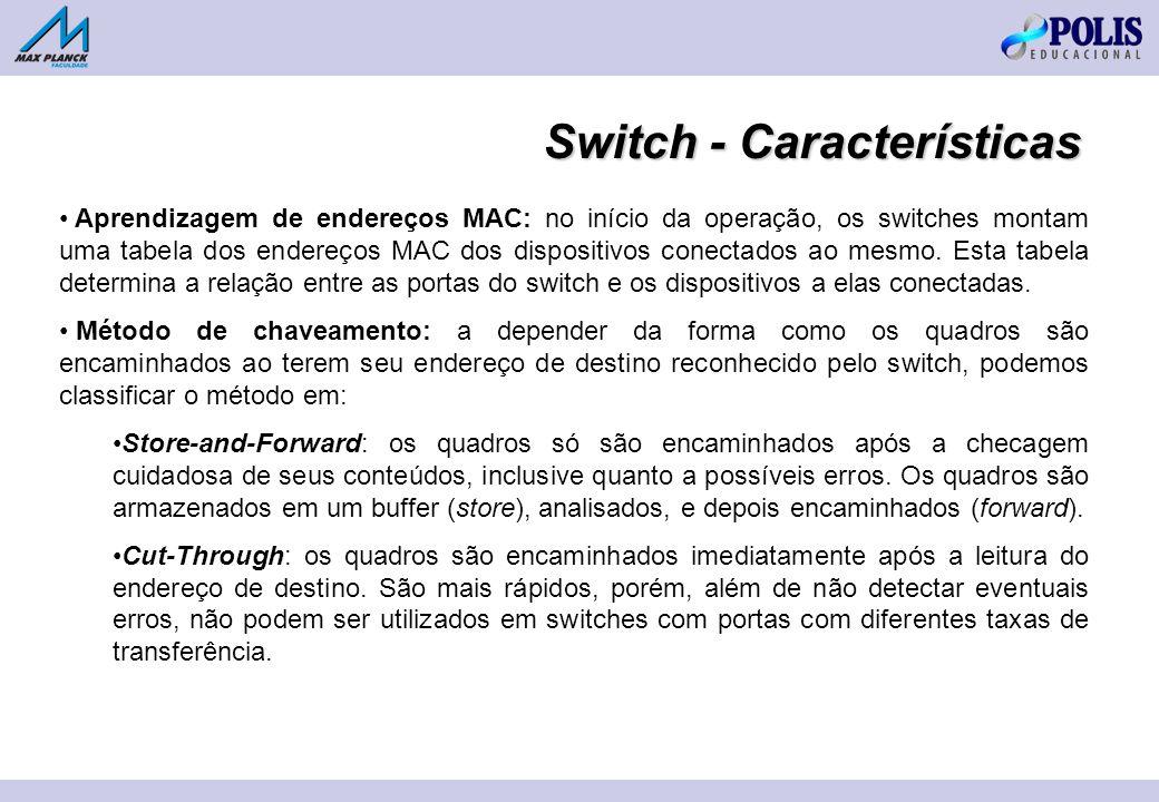 Aprendizagem de endereços MAC: no início da operação, os switches montam uma tabela dos endereços MAC dos dispositivos conectados ao mesmo.