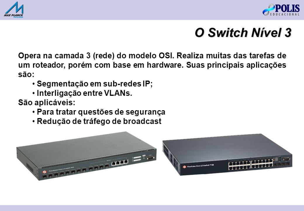 O Switch Nível 3 Opera na camada 3 (rede) do modelo OSI. Realiza muitas das tarefas de um roteador, porém com base em hardware. Suas principais aplica