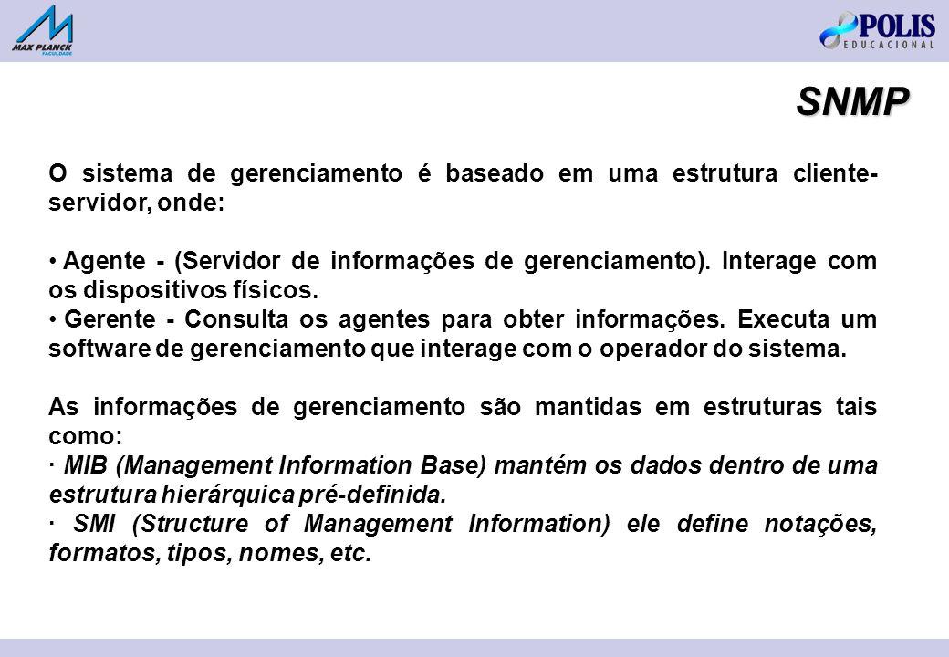 O sistema de gerenciamento é baseado em uma estrutura cliente- servidor, onde: Agente - (Servidor de informações de gerenciamento). Interage com os di