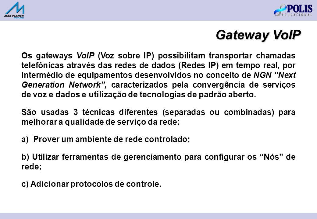 Gateway VoIP Os gateways VoIP (Voz sobre IP) possibilitam transportar chamadas telefônicas através das redes de dados (Redes IP) em tempo real, por in