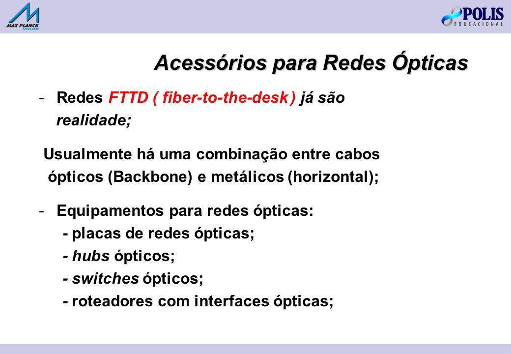 -Redes FTTD ( fiber-to-the-desk ) já são realidade; Usualmente há uma combinação entre cabos ópticos (Backbone) e metálicos (horizontal); -Equipamentos para redes ópticas: - placas de redes ópticas; - hubs ópticos; - switches ópticos; - roteadores com interfaces ópticas; Acessórios para Redes Ópticas