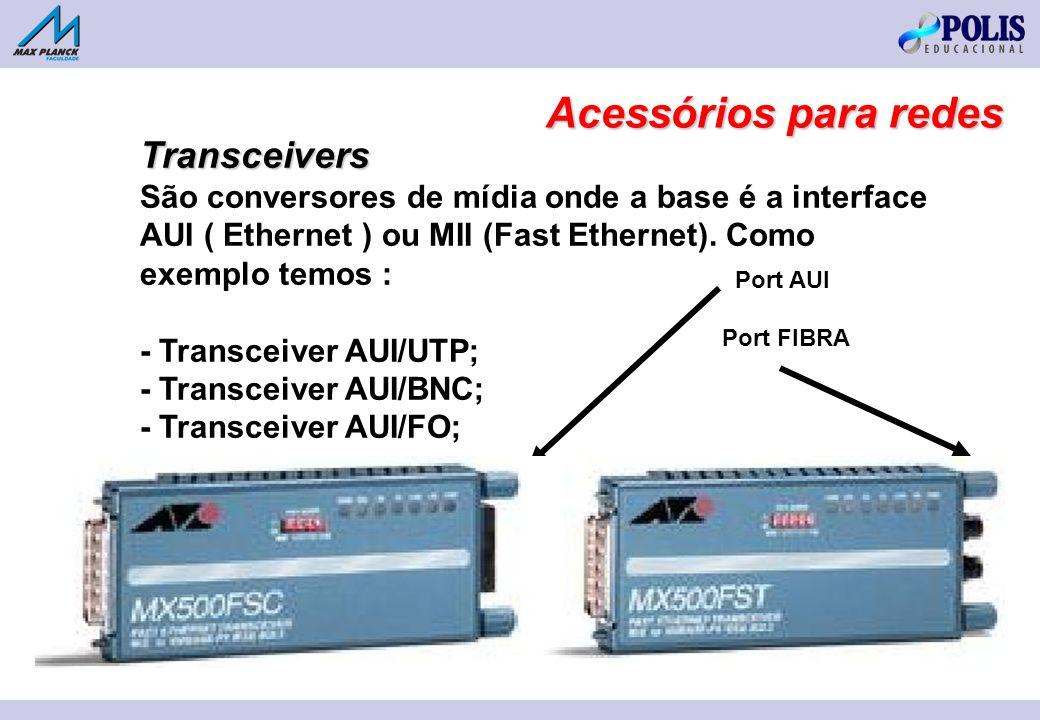 Transceivers São conversores de mídia onde a base é a interface AUI ( Ethernet ) ou MII (Fast Ethernet). Como exemplo temos : - Transceiver AUI/UTP; -