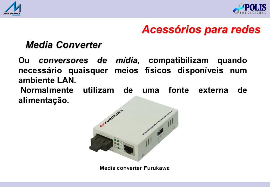 conversores de mídia Ou conversores de mídia, compatibilizam quando necessário quaisquer meios físicos disponíveis num ambiente LAN.