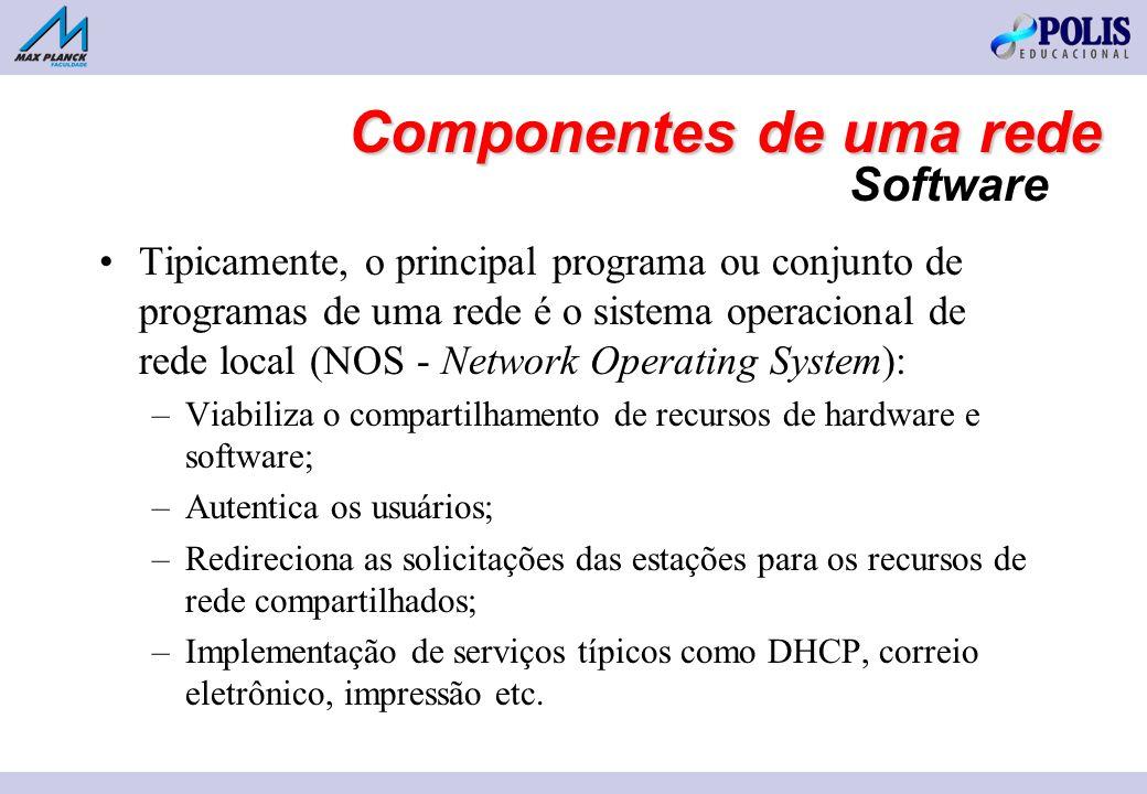 Software Tipicamente, o principal programa ou conjunto de programas de uma rede é o sistema operacional de rede local (NOS - Network Operating System): –Viabiliza o compartilhamento de recursos de hardware e software; –Autentica os usuários; –Redireciona as solicitações das estações para os recursos de rede compartilhados; –Implementação de serviços típicos como DHCP, correio eletrônico, impressão etc.