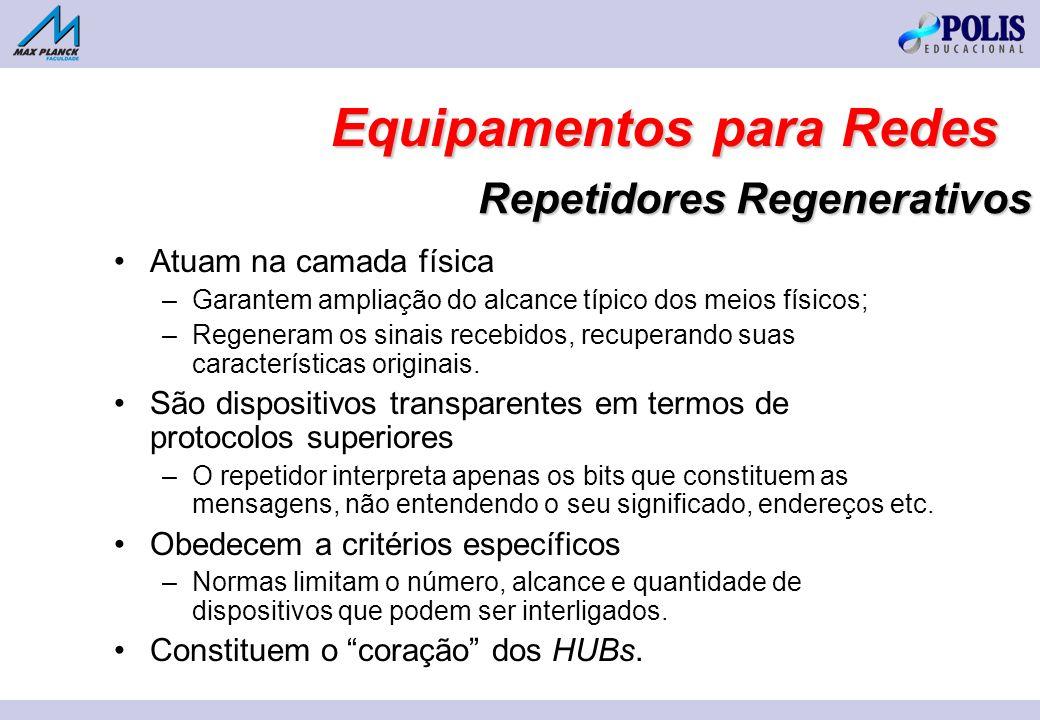 Repetidores Regenerativos Atuam na camada física –Garantem ampliação do alcance típico dos meios físicos; –Regeneram os sinais recebidos, recuperando suas características originais.