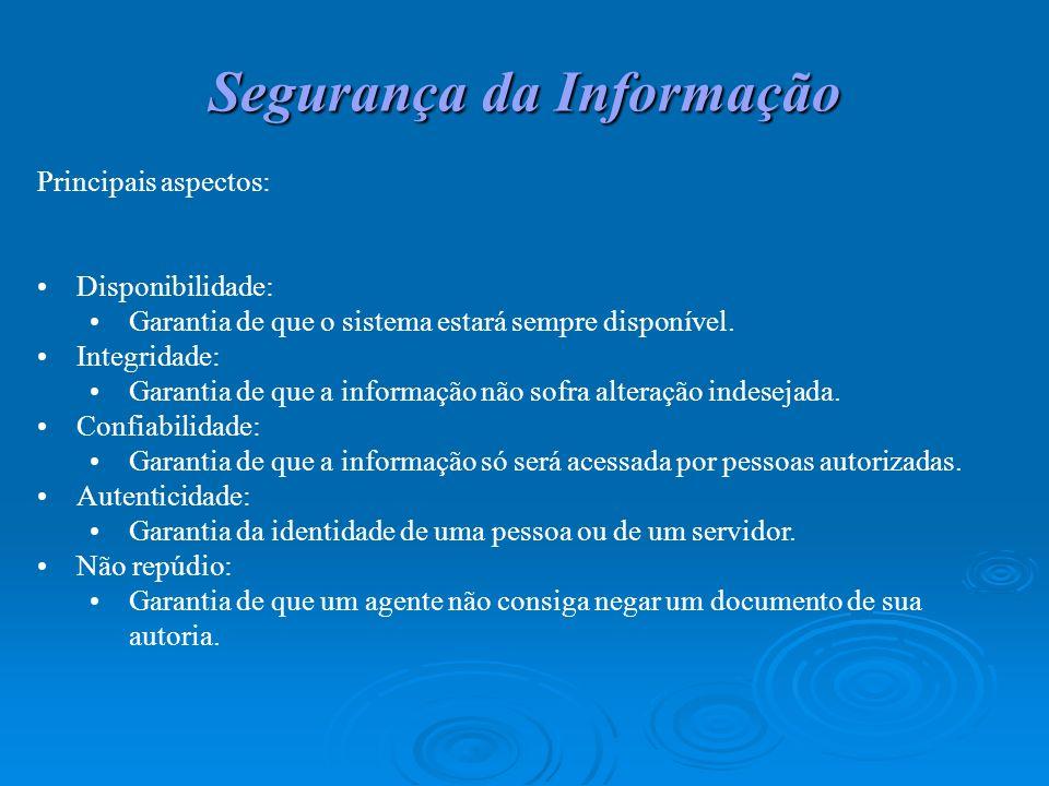 Segurança da Informação Principais aspectos: Disponibilidade: Garantia de que o sistema estará sempre disponível. Integridade: Garantia de que a infor