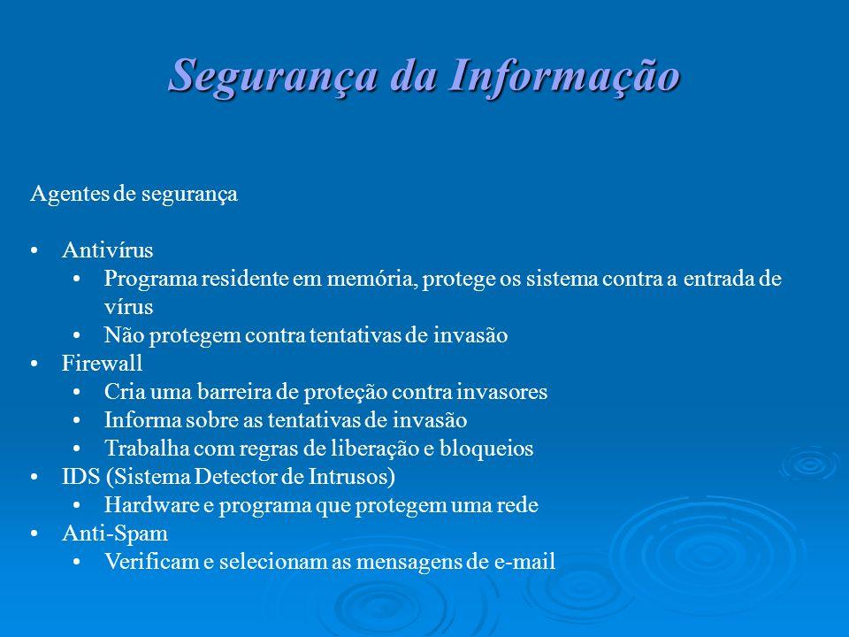 Segurança da Informação Agentes de segurança Antivírus Programa residente em memória, protege os sistema contra a entrada de vírus Não protegem contra