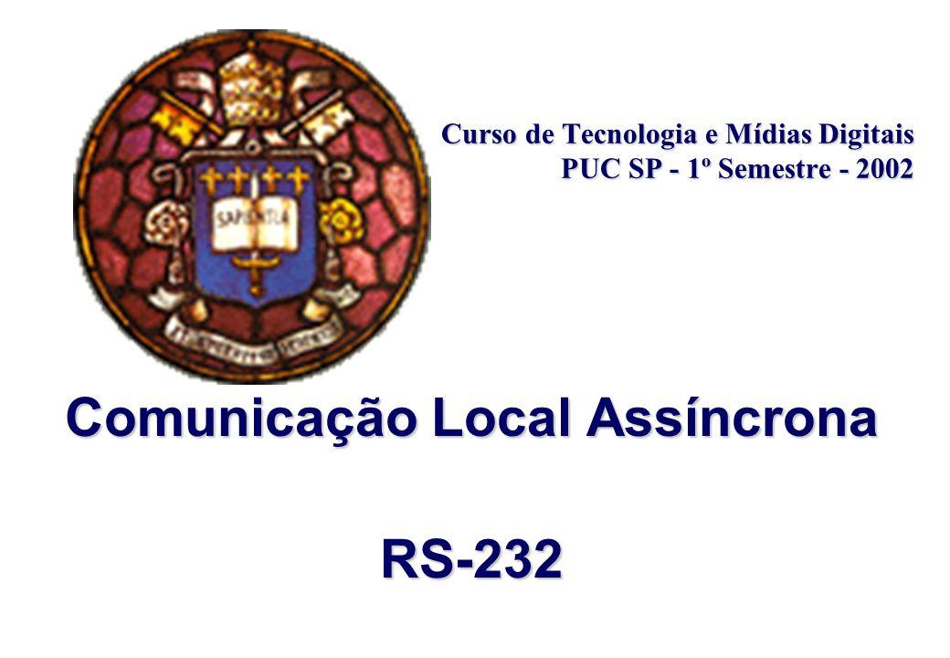 Comunicação Local Assíncrona – RS232 Tecnologia e Mídias Digitais – PUC 2002 Redes Moisés Machado Paulo Macedo Tipos de Comunicação Assíncrona –full duplex: também chamada apenas duplex quando dados podem ser transmitidos e recebidos simultaneamente em ambos os sentidos.