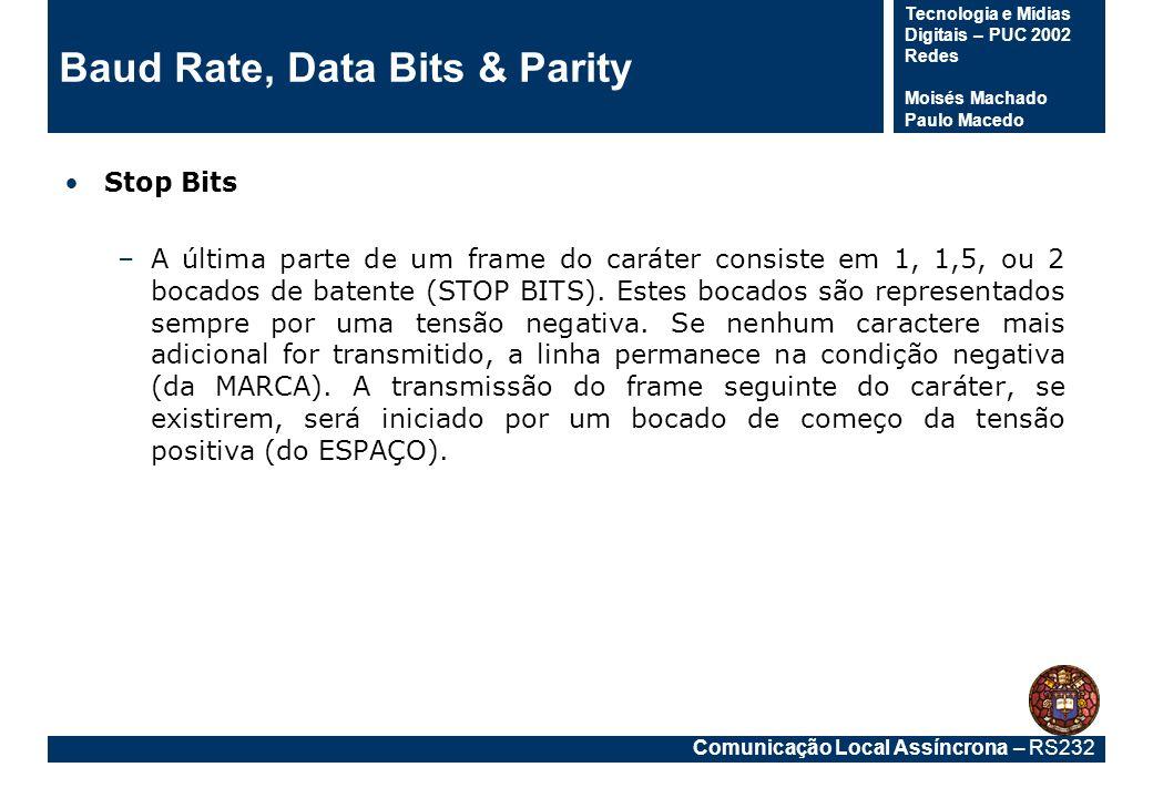 Comunicação Local Assíncrona – RS232 Tecnologia e Mídias Digitais – PUC 2002 Redes Moisés Machado Paulo Macedo Baud Rate, Data Bits & Parity Stop Bits