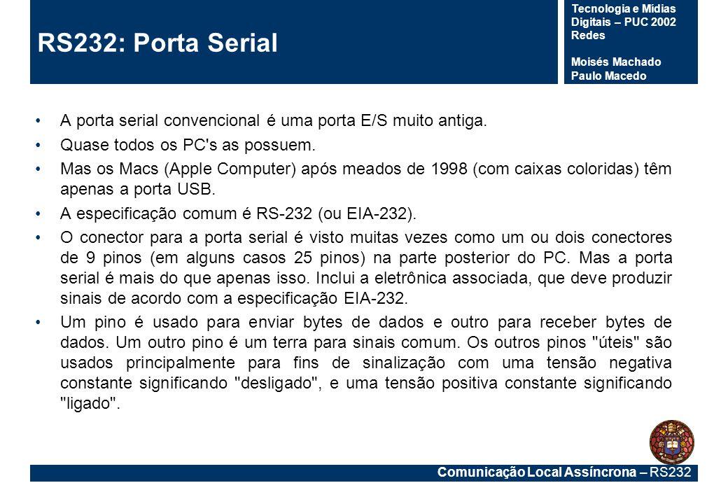 Comunicação Local Assíncrona – RS232 Tecnologia e Mídias Digitais – PUC 2002 Redes Moisés Machado Paulo Macedo Apareceu em 1960 para especificar as conexões entre computadores e a rede publica de telefones.