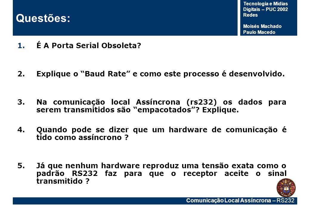 Comunicação Local Assíncrona – RS232 Tecnologia e Mídias Digitais – PUC 2002 Redes Moisés Machado Paulo Macedo Questões: 1.É A Porta Serial Obsoleta?