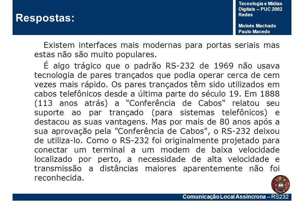 Comunicação Local Assíncrona – RS232 Tecnologia e Mídias Digitais – PUC 2002 Redes Moisés Machado Paulo Macedo Respostas: Existem interfaces mais mode