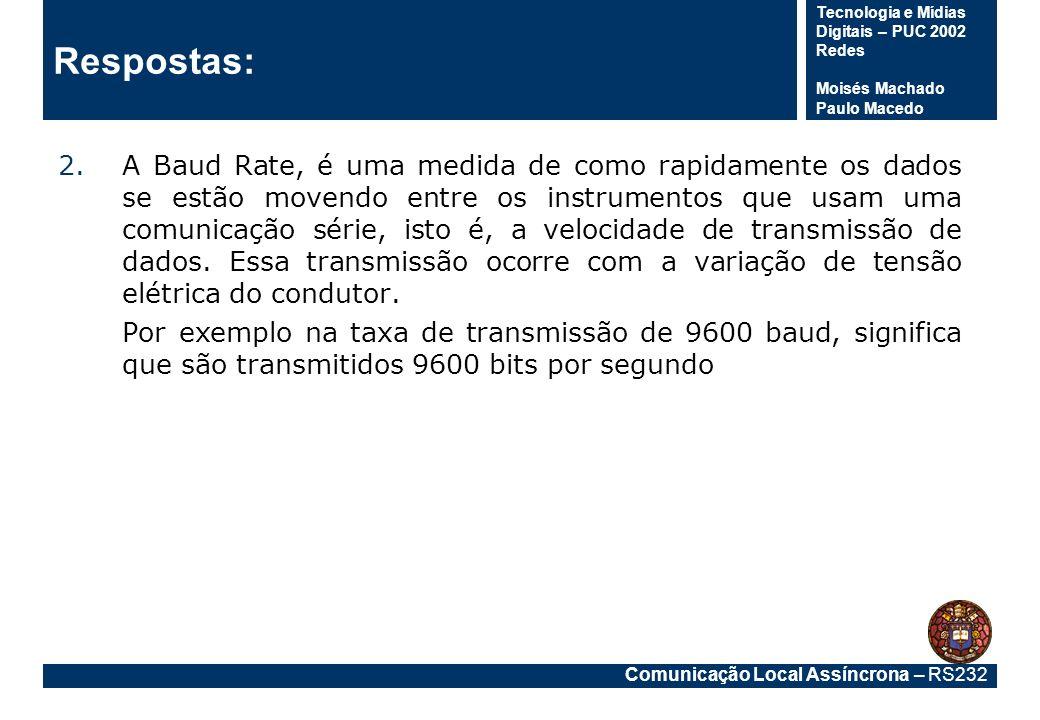 Comunicação Local Assíncrona – RS232 Tecnologia e Mídias Digitais – PUC 2002 Redes Moisés Machado Paulo Macedo Respostas: 2.A Baud Rate, é uma medida
