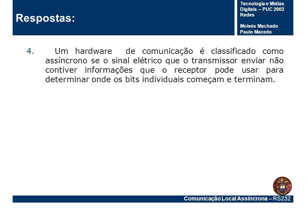 Comunicação Local Assíncrona – RS232 Tecnologia e Mídias Digitais – PUC 2002 Redes Moisés Machado Paulo Macedo Respostas: 4.Um hardware de comunicação