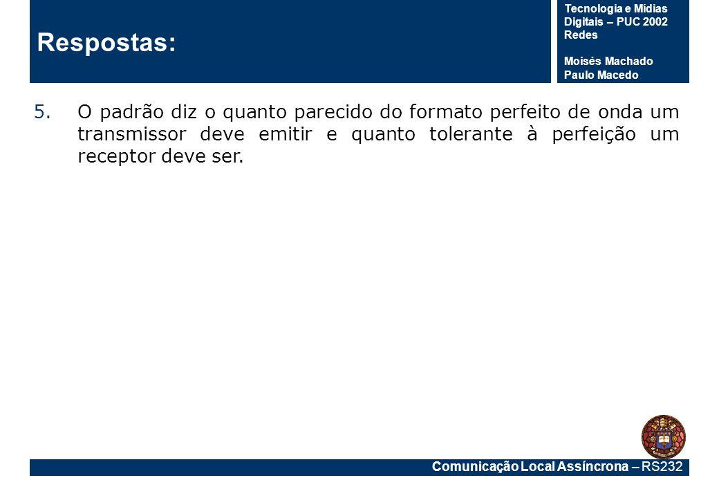 Comunicação Local Assíncrona – RS232 Tecnologia e Mídias Digitais – PUC 2002 Redes Moisés Machado Paulo Macedo Respostas: 5.O padrão diz o quanto pare