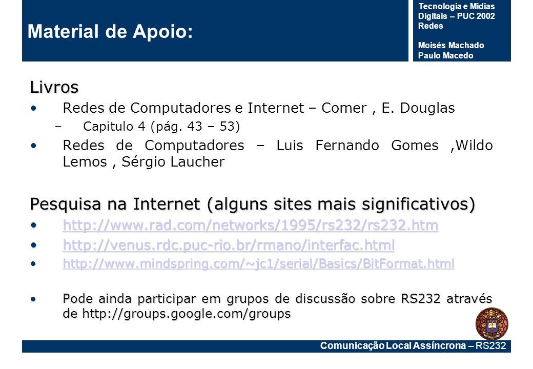 Comunicação Local Assíncrona – RS232 Tecnologia e Mídias Digitais – PUC 2002 Redes Moisés Machado Paulo Macedo Material de Apoio:Livros Redes de Compu