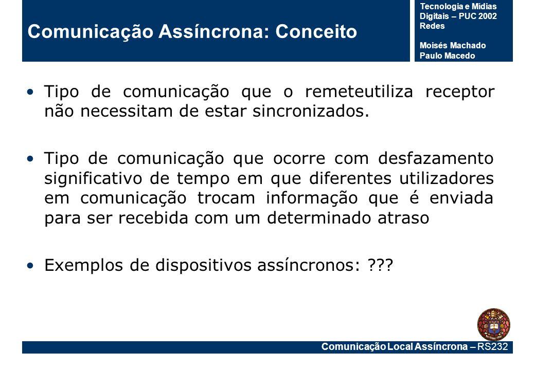 Comunicação Local Assíncrona – RS232 Tecnologia e Mídias Digitais – PUC 2002 Redes Moisés Machado Paulo Macedo Comunicação Assíncrona: Conceito Tipo d
