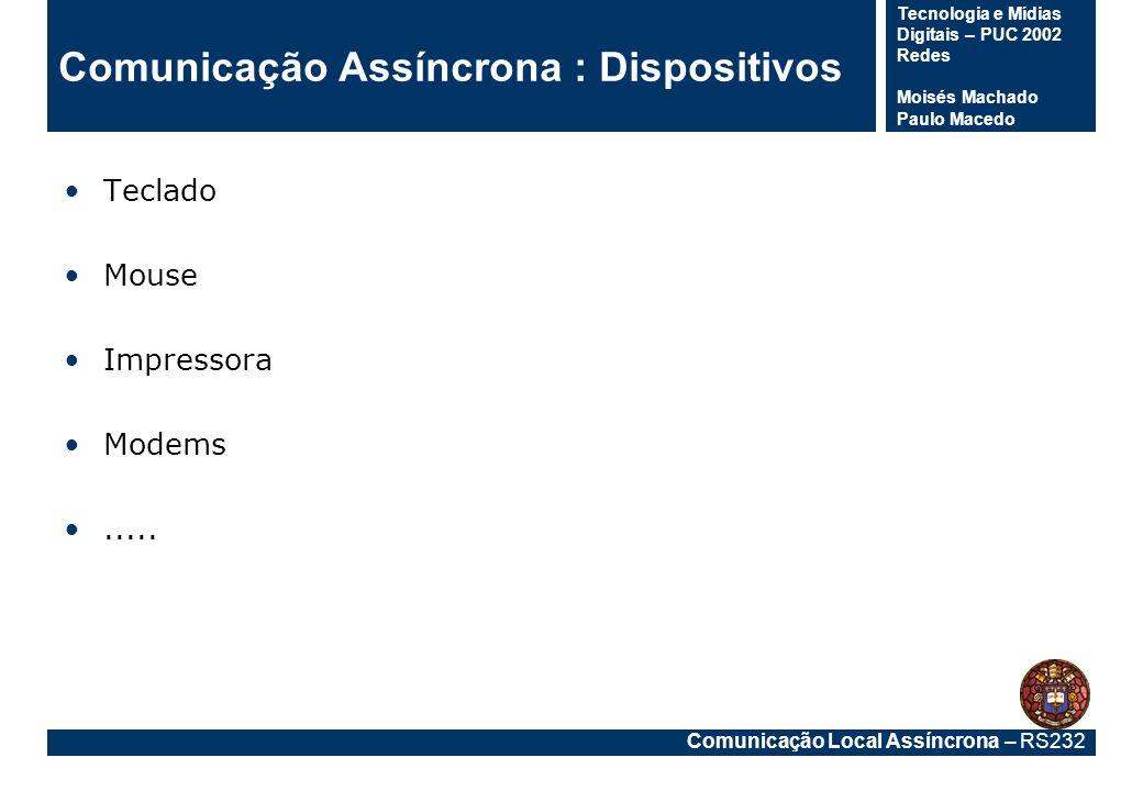 Comunicação Local Assíncrona – RS232 Tecnologia e Mídias Digitais – PUC 2002 Redes Moisés Machado Paulo Macedo Comunicação Assíncrona : Dispositivos T