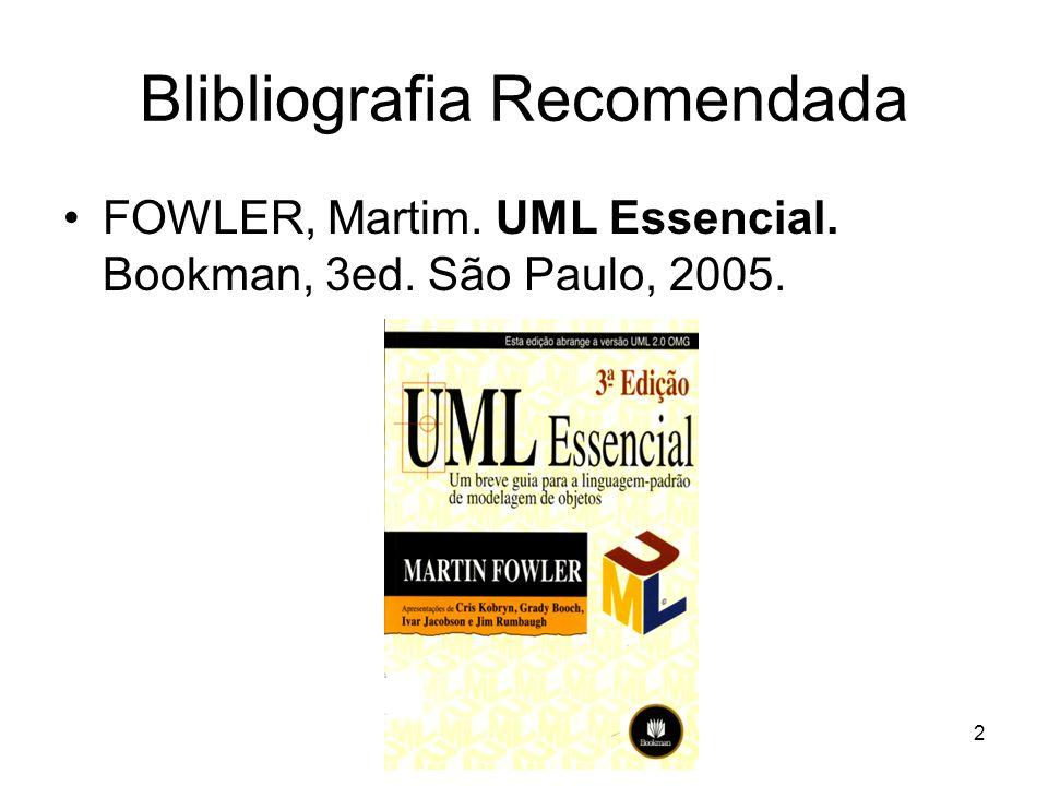 Blibliografia Recomendada FOWLER, Martim. UML Essencial. Bookman, 3ed. São Paulo, 2005. 2