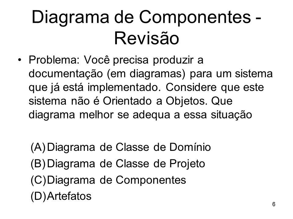 Diagrama de Componentes - Revisão Problema: Você precisa produzir a documentação (em diagramas) para um sistema que já está implementado. Considere qu