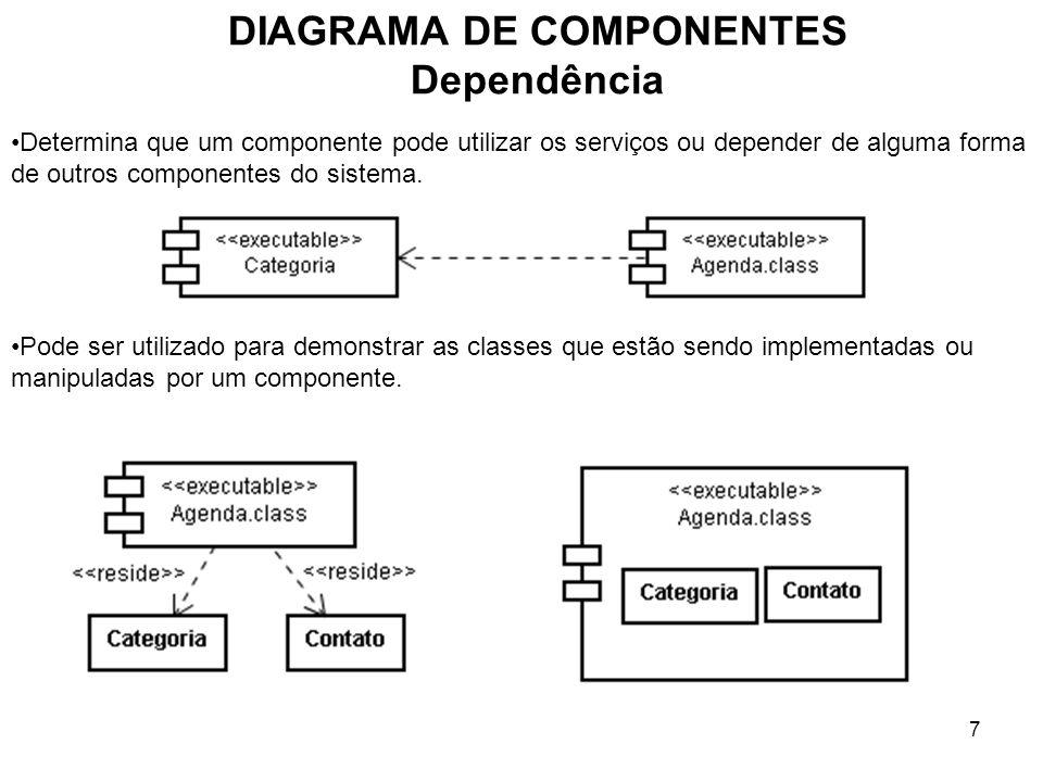 7 DIAGRAMA DE COMPONENTES Dependência Determina que um componente pode utilizar os serviços ou depender de alguma forma de outros componentes do sistema.