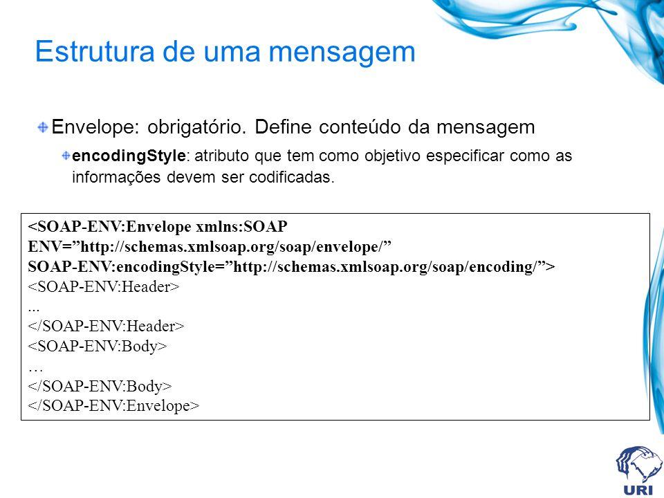 Estrutura de uma mensagem Envelope: obrigatório. Define conteúdo da mensagem encodingStyle: atributo que tem como objetivo especificar como as informa