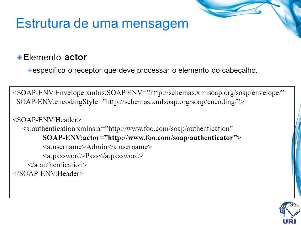 Estrutura de uma mensagem Elemento actor especifica o receptor que deve processar o elemento do cabeçalho. Admin Pass
