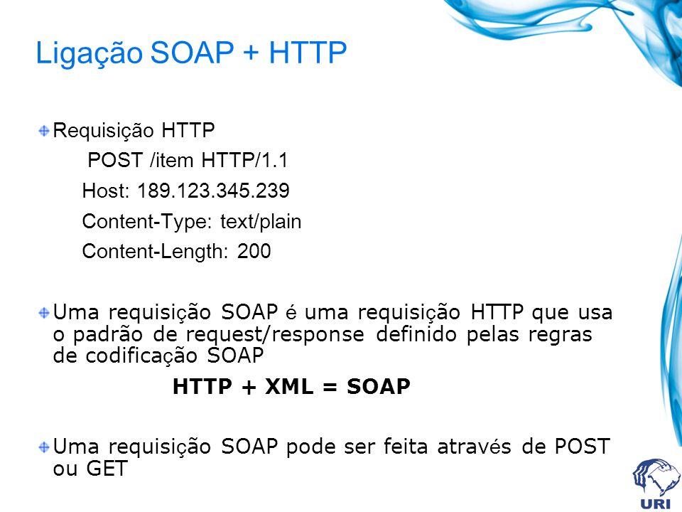Ligação SOAP + HTTP Requisição HTTP POST /item HTTP/1.1 Host: 189.123.345.239 Content-Type: text/plain Content-Length: 200 Uma requisi ç ão SOAP é uma