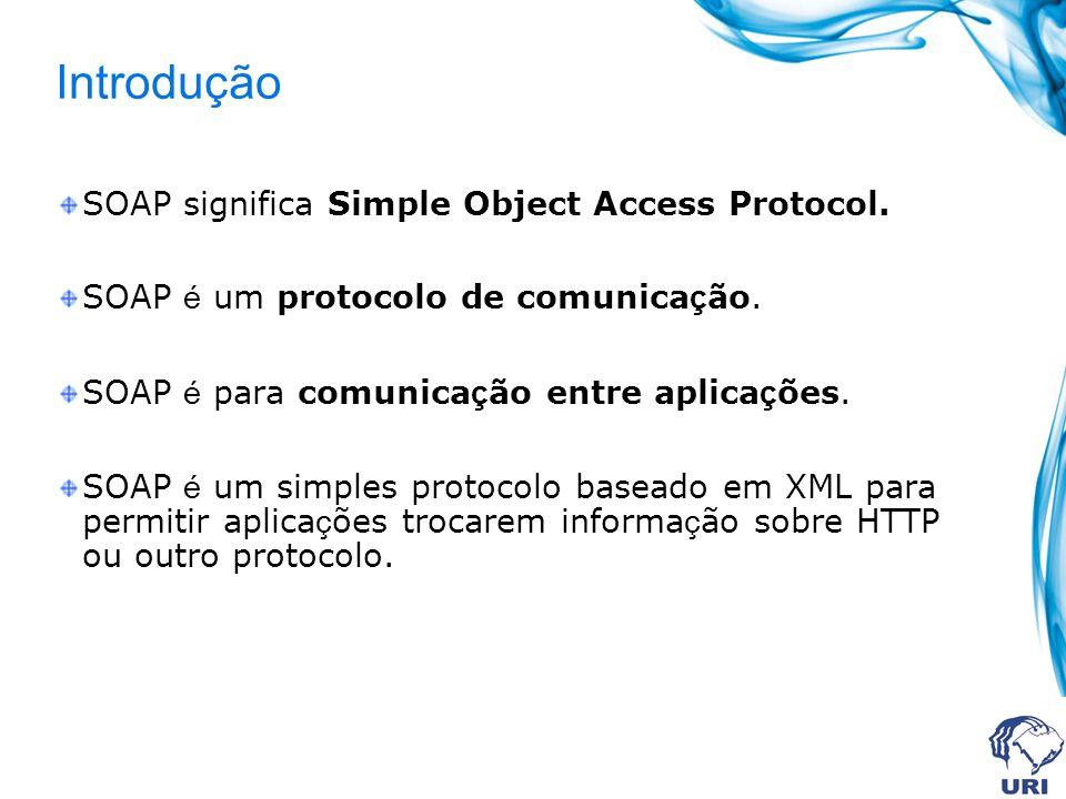 Introdução SOAP significa Simple Object Access Protocol. SOAP é um protocolo de comunica ç ão. SOAP é para comunica ç ão entre aplica ç ões. SOAP é um