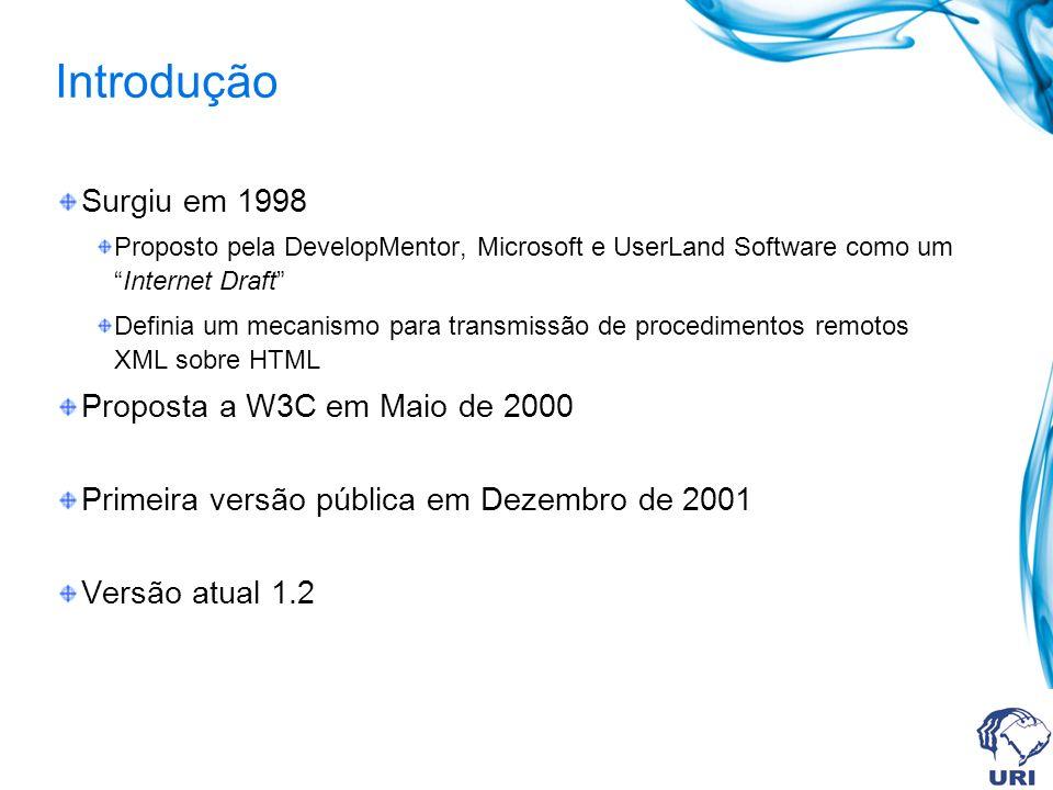 Introdução Surgiu em 1998 Proposto pela DevelopMentor, Microsoft e UserLand Software como umInternet Draft Definia um mecanismo para transmissão de pr