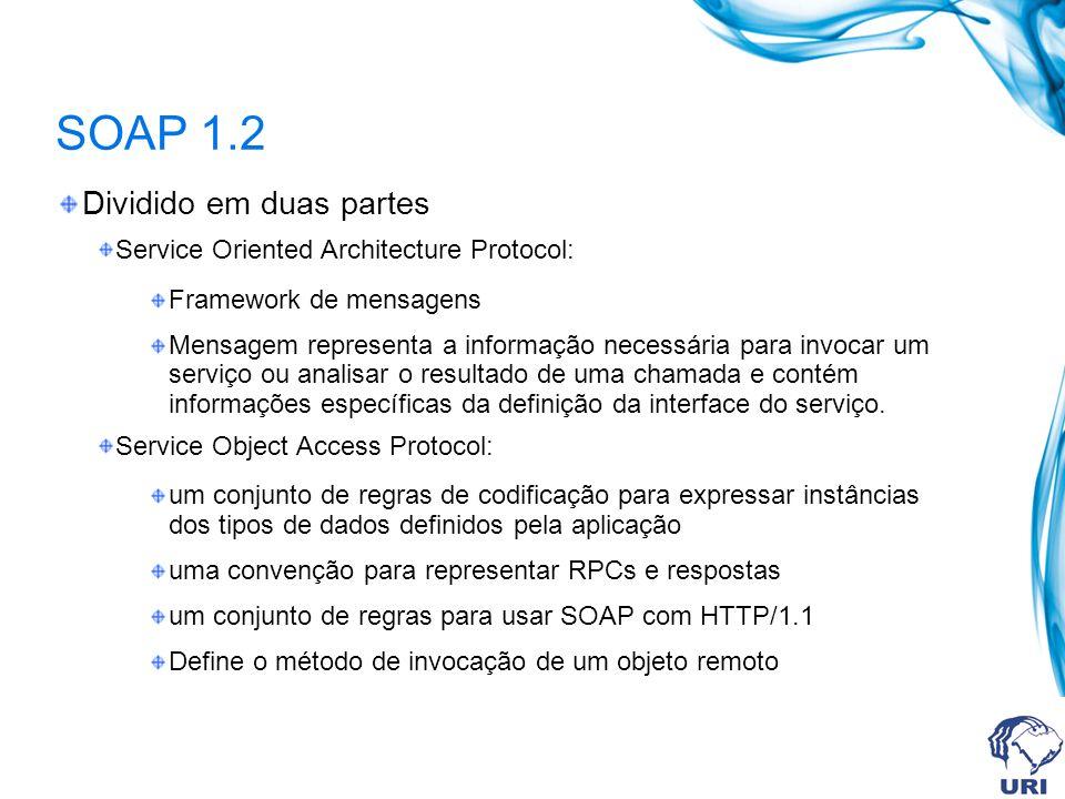SOAP 1.2 Dividido em duas partes Service Oriented Architecture Protocol: Framework de mensagens Mensagem representa a informação necessária para invoc
