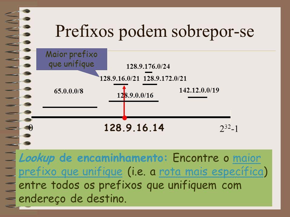 8 32 24 Valores de prefixo Comprimento do Prefixo 128.9.0.0/16 142.12.0.0/19 65.0.0.0/8 Dificuldade da unificação com o prefixo mais longo 128.9.16.14 128.9.172.0/21 128.9.176.0/24 128.9.16.0/21 Busca bi-dimensional: - Comprimento do prefixo - Valor do Prefixo