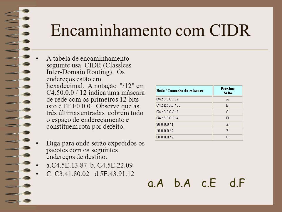 Discussão Discuta a adopção da abordagem CIDR (Classless Inter-Domain Routing) referindo –problemas que permite resolver – a complexidade introduzida no procedimento de expedição de pacotes