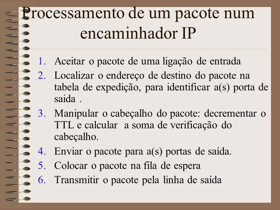 Interior dum Encaminhador IP melhor esforço