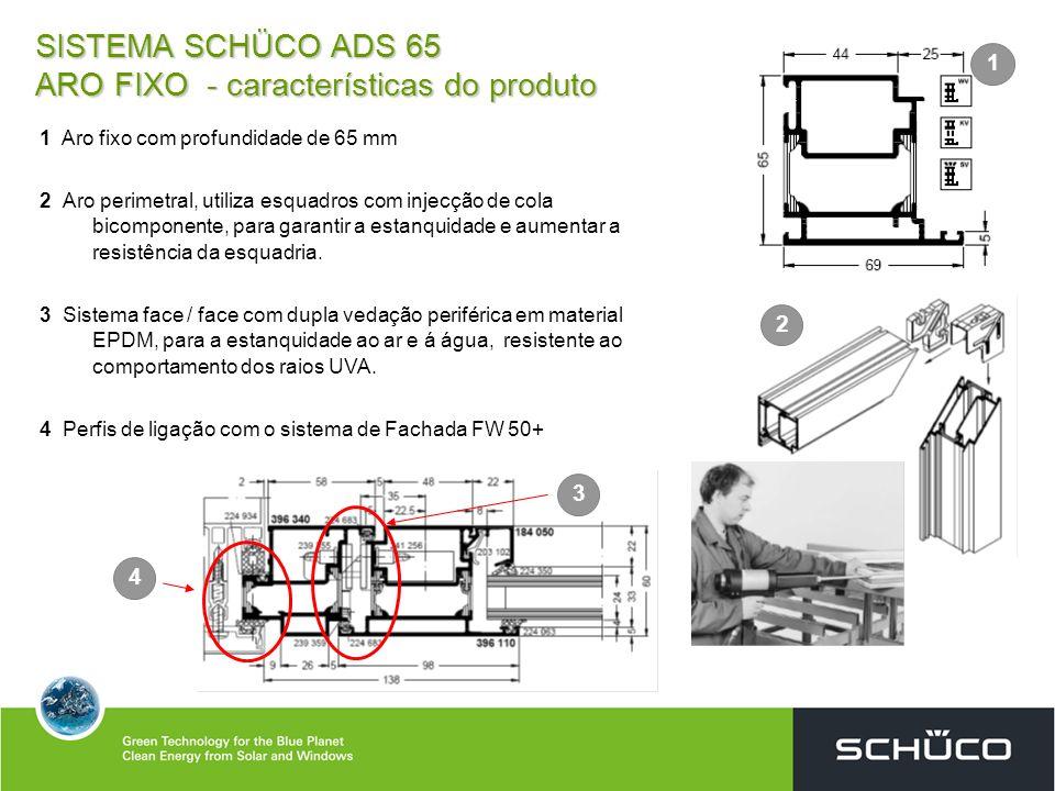 SISTEMA SCHÜCO ADS 65 ARO FIXO - características do produto 1 Aro fixo com profundidade de 65 mm 2 Aro perimetral, utiliza esquadros com injecção de c