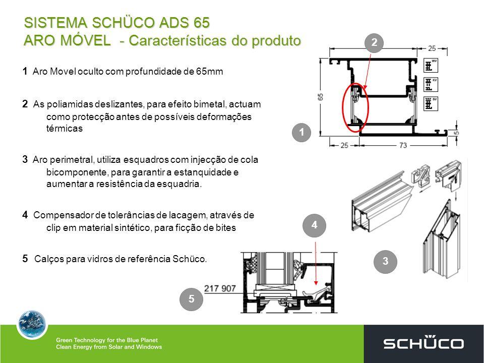 SISTEMA SCHÜCO ADS 65 ARO MÓVEL - Características do produto 3 1 2 4 1 Aro Movel oculto com profundidade de 65mm 2 As poliamidas deslizantes, para efe
