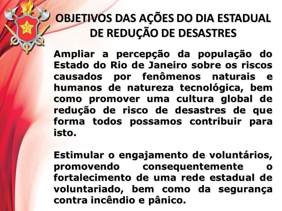 OBJETIVOS DAS AÇÕES DO DIA ESTADUAL DE REDUÇÃO DE DESASTRES Ampliar a percepção da população do Estado do Rio de Janeiro sobre os riscos causados por