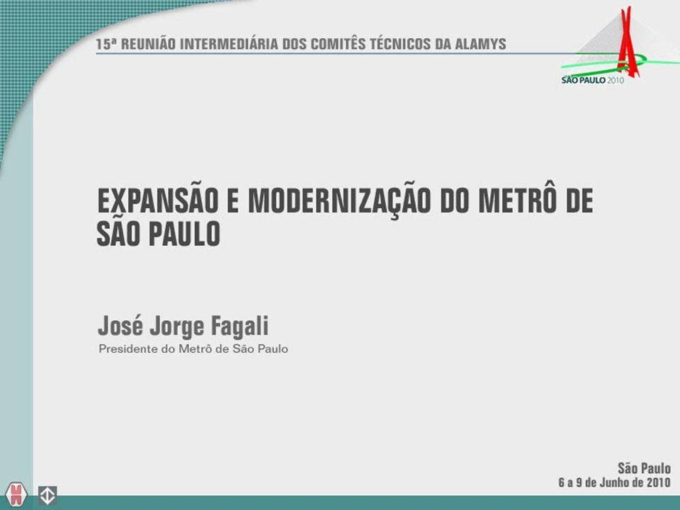 LINHA 1 - AZUL: 51 LINHA 3 - VERMELHA: 47 8 TRENS EM 2010 REFORMA E MODERNIZAÇÃO DOS TRENS DO METRÔ EXPANSÃO SÃO PAULO – PRINCIPAIS PROJETOS