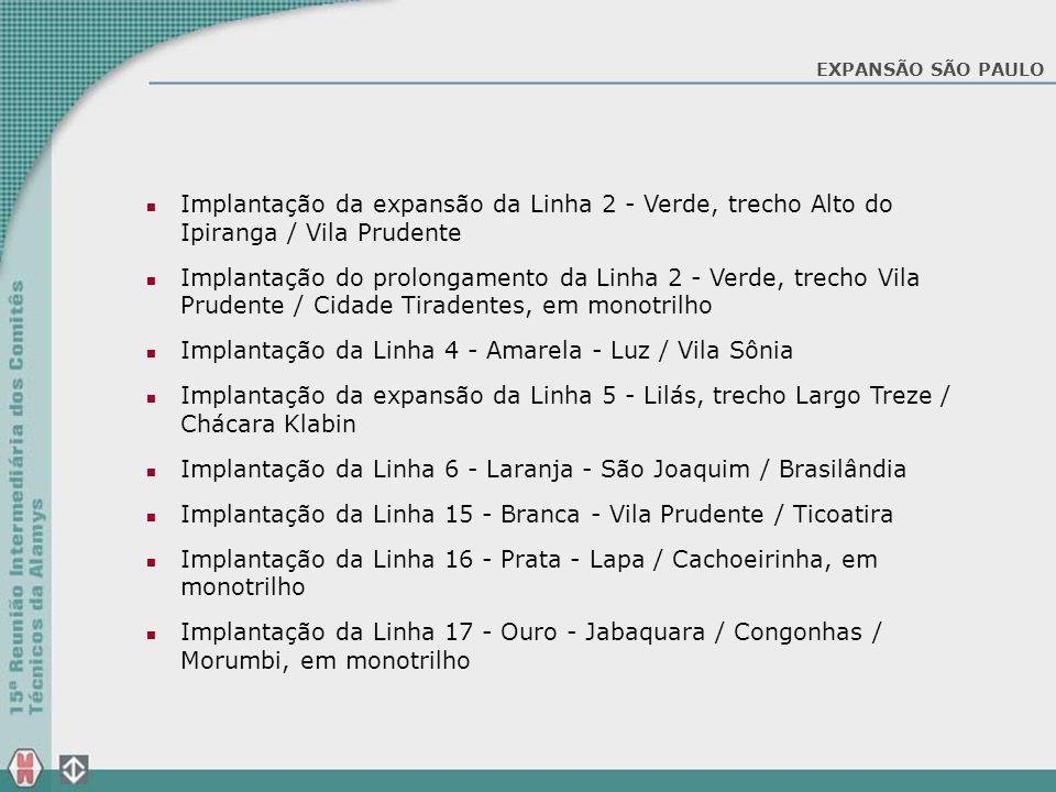 Implantação da expansão da Linha 2 - Verde, trecho Alto do Ipiranga / Vila Prudente Implantação do prolongamento da Linha 2 - Verde, trecho Vila Prude