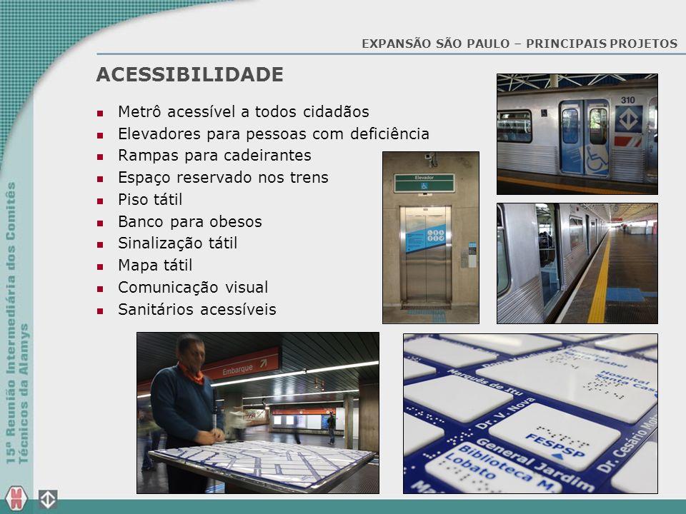 ACESSIBILIDADE Metrô acessível a todos cidadãos Elevadores para pessoas com deficiência Rampas para cadeirantes Espaço reservado nos trens Piso tátil