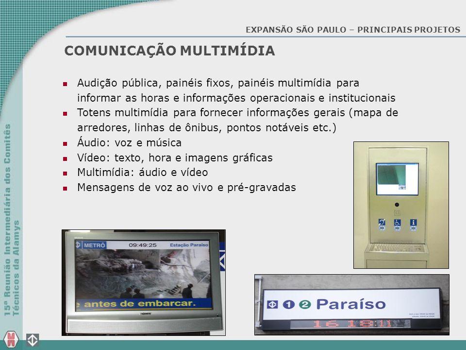 COMUNICAÇÃO MULTIMÍDIA Audição pública, painéis fixos, painéis multimídia para informar as horas e informações operacionais e institucionais Totens mu