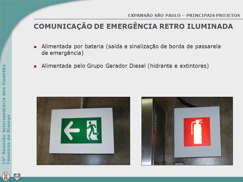 COMUNICAÇÃO DE EMERGÊNCIA RETRO ILUMINADA Alimentada por bateria (saída e sinalização de borda de passarela de emergência) Alimentada pelo Grupo Gerad