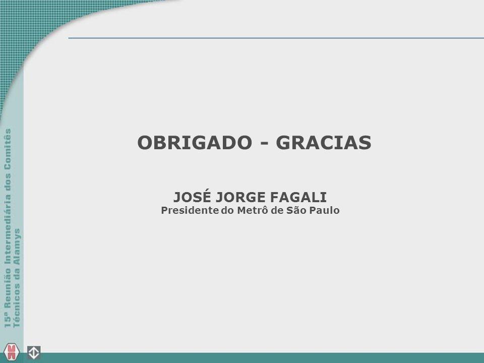 OBRIGADO - GRACIAS JOSÉ JORGE FAGALI Presidente do Metrô de São Paulo