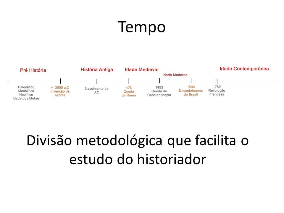Tempo Divisão metodológica que facilita o estudo do historiador