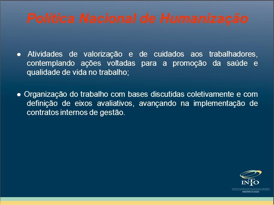 Política Nacional de Humanização Atividades de valorização e de cuidados aos trabalhadores, contemplando ações voltadas para a promoção da saúde e qua